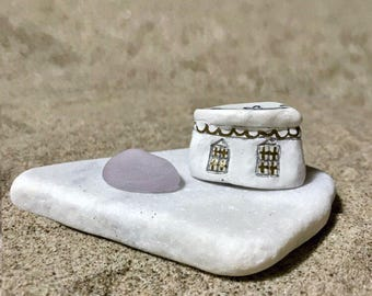 Little Beach House on Sea Washed Marble. Beach Pottery Roof* Ocean Lover Gift * Beach Finds Art * Coastal Home Decor * House Warming Gift