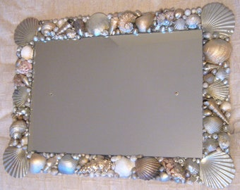 Large Silver and Gold Seashell Frame Mirror 60 cms x 43 cms, landscape or portrait. Screw kit included.