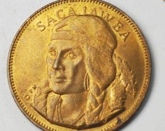 Sacajawea Shoshone Tribe 26mm Copper Medal