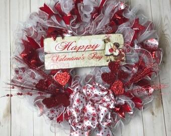 Valentine Wreath, large Front door wreath, mesh wreath, deco mesh valentines wreath, large valentines wreath, white wedding door wreath