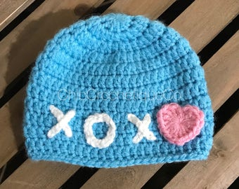 Blue and Pink Xs & Os Beanie for Baby, Crochet Baby Beanie Hat, Fun Hat for Kids, Hugs and Kisses Hat, Trendy Baby Hat