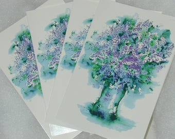 Cards Lilacs 4 notecards