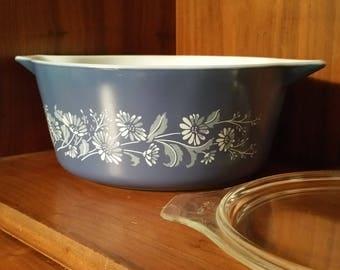 Blue Pyrex Casserole Dish - Colonial Mist Pyrex with Glass Lid