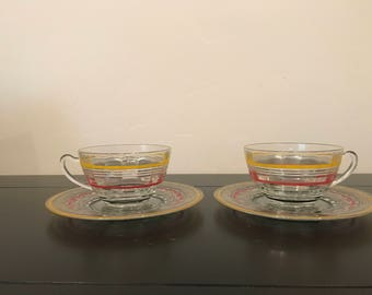 Vintage Anchor Hocking Banded Rings Cups and Saucers