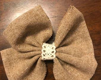 Burlap hair bow