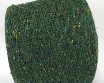 Green tweed yarn  handknitting weaving yarn/ per 100g