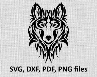 Wolf SVG/ Wolf DXF/ Wolf Clipart/ Wolf Files, tribal symetric cutting, silhouette, DXF, Wolf vector, Wolf head, T Shirt design, wolves