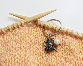 Lady Bug Beetle Stitch Markers for Knitting Set of 3