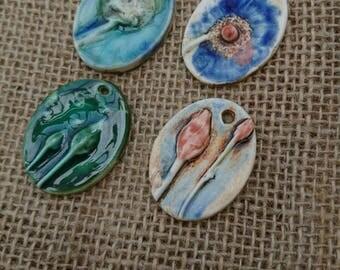 Set of Four Handmade Ceramic  Botanical Rustic Pendants.  Handmade jewllery making supplies Haberdashery  Embellishing