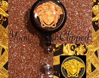 Versace Medusa Retractable Badge Clip / Keychain