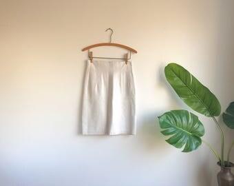 White Leather Skirt / White Leather Mini Skirt / Size 8