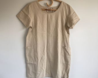 Vintage Minimalist Linen Blend Tunic Size Medium