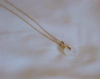 SNOW HORN // mother of pearl necklace, horn necklace, crescent necklace, 14k gf, gold filled, dainty, boho jewelry, gift