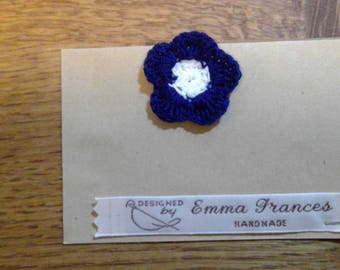 Handmade Crocheted Blue Flower Brooch by Emma Frances Boutique