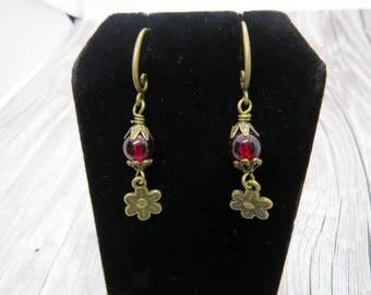 Antique Bronze Brass and Garnet Flower Earrings