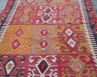 """Handmade kilim rug367x153cm 144""""x60"""",Turkish kilim rug,Anatolian kilim rug,vintage kilim rug,tribal kilim rug, Handmade kilim rug"""