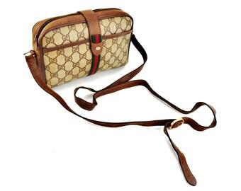 Authentic Vintage Gucci Web Supreme Gg Monogram Canvas Leather Crossbody Shoulder Bag Italy