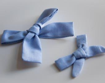 Skinny Mini & Medium Blue Herringbone Schoolgirl Bows on Headband or Clip
