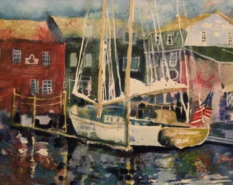 "Newport RI Bowen's Wharf original watercolor on paper  18 x 20"""
