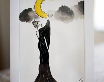 Moon Enchantress Watercolor