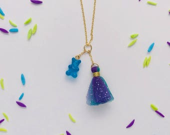Gummy Bear Tulle Tassel Charm Necklace in Blue Raspberry