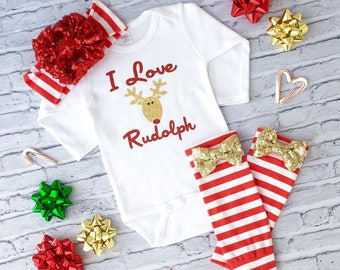 "Set of Christmas Baby (""I love Rudolph"")"