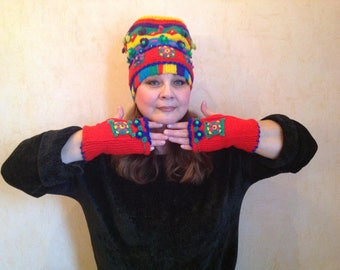 Knitted hat  and mittens of wool and wool with acrylic,* Fantasy 1.*
