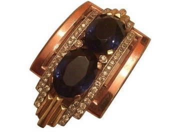 Vintage Crown Trifari Blue Stone Art Deco Fur / Dress Clip