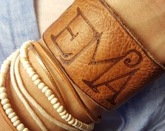 Leather Cuff - Monogram