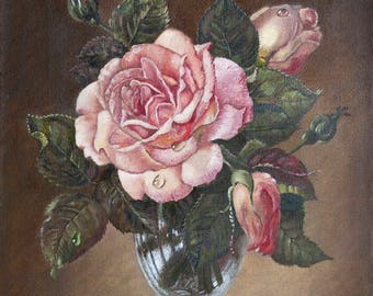 Rose in a glass vase. The picture is made on canvas with oil paints. A copy of the work of S. Kennedy. Piece of art.