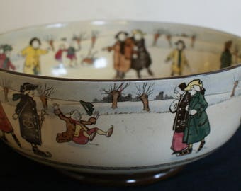 Rare Antique Royal Doulton Skater Pottery Bowl c1910