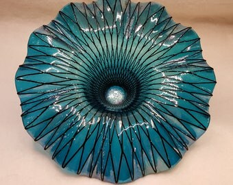 Turquoise Spiro Fused Glass Sculpture