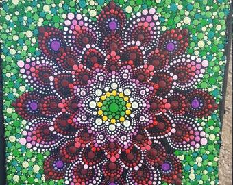 """Red 12x12"""" Lotus Mandala on 300in Watercolor Paper"""