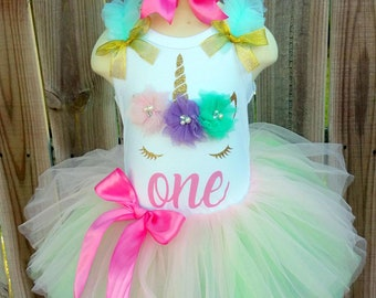 Pastel Rainbow and Gold Unicorn First Second Third Birthday Tutu Outfit Free Personalization