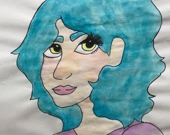 """Original watercolor - """"Teal"""""""