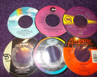 Set of 6 1980s R and B 45rpm Hand Cut Laminate Coasters Levert Klymaxx