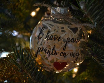 Paw Prints on my Heart Ornament
