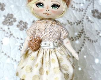 textile doll, dolls, author doll, inturnier doll, handmade doll, cute doll, white, sweet princess