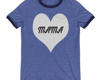 Mama Heart Ringer T-Shirt, Mama Bear Tshirts, Mama Heart Tee, Mommy Tops, Mama Bear, Mama Bear shirt, Blessed Mama, Blessed Mama Shirt