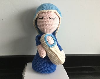 Christmas, Mary with baby Jesus, crochet.