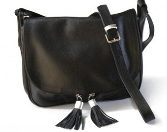 MJ Stylish  Leather Bag Handmade in Morocco, Black Color Leather Goods