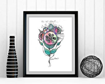 Abstract art, 8 x 10, printable art, Finding the Calm, inspirational, chaos, ink and watercolor, printable art prints, print at home, flower