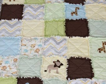 Baby rag quilt safari