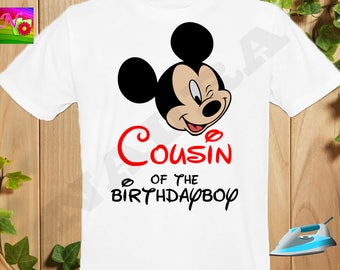 Cousin, Cousin Iron On Transfer, Iron On Mickey Birthday Shirt, Mickey Mouse Birthday Cousin Iron On Transfer, Instant Download