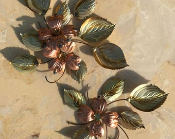 Vintage Copper and brass flowers - wall hanging
