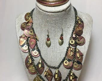Vintage unsigned artistic brass and copper necklace with bangle and earrings with semi-precious natural stone.