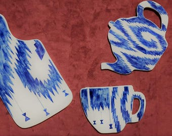ikat pattern design blue and white
