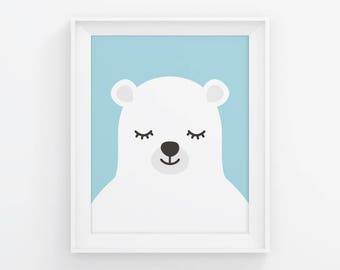 PRINTABLE Sleepy Bear Nursery Art. Blue Baby Boy Room Wall Decor. Cute Closed Eyes Polar Bear. Animals Sleeping Digital Prints Download
