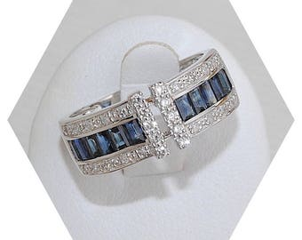 White 18 K gold / / ring belt - sapphires - diamonds - 18 k gold - 750/1000