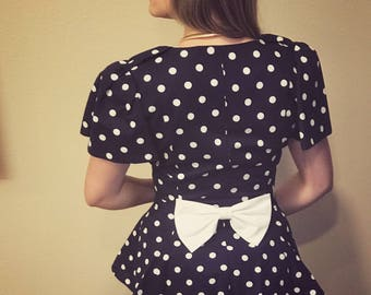"Vintage 1980 Polka dot suit ""Yayoi"""